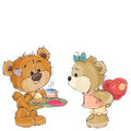 Vector illustration of a loving brown teddy bear carries a tray with breakfast and a valentine to her girlfriend