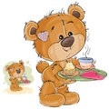 Vector illustration of a loving brown teddy bear carrying a tray with breakfast and a valentine lying on it
