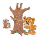 Vector illustration of a loving brown teddy bear carved on a tree trunk a heart and an inscription I Love You