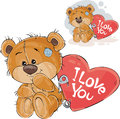 Vector illustration of a loving brown teddy bear sitting with a red heart pinned to it with the inscription I Love You