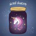 Vector illustration with magic jar and unicorn.