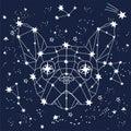 Vector illustration of magic zodiac linear polygonal dog in space among sketch hand drawn stars, animals constellation on dark sky