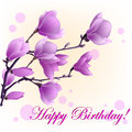 Vector Illustration of magnolia and words happy birthday