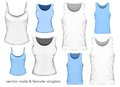 Vector illustration male female singlets front view Royalty Free Stock Images