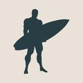 Vector illustration of man posing with surfboard