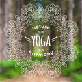 Vector illustration with mandala and yoga label on blurred natur