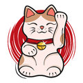 Vector illustration of maneki neko. Japanese lucky cat fortune Royalty Free Stock Photo
