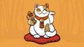 Vector illustration of maneki neko talisman cat beckoning wealth and happiness
