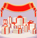 Vector illustration of many gift boxes over  background with red ribbon Royalty Free Stock Photo