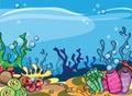 A vector illustration of marine underwater scene cartoon Stock Photography