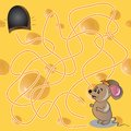 Vector illustration of maze or labyrinth game wit cartoon with funny mouse Royalty Free Stock Photos