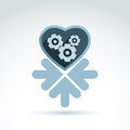 Vector illustration of a mechanical heart love machine icon with arrows gears and moving parts placed in loyally to the Stock Images