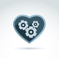 Vector illustration of a mechanical heart love machine icon ge gears and moving parts placed in Stock Photography