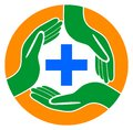 Medical care hands around the plus logo Royalty Free Stock Photo