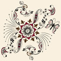 Vector illustration of mehndi ornament. Traditional indian style, ornamental floral elements for henna tattoo, stickers Royalty Free Stock Photo