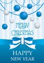 Vector illustration of Merry Christmas and Happy New Year card with chrome silver and blue balls toys decorations and Royalty Free Stock Photo