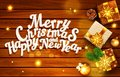 Vector illustration for Merry Christmas and Happy New Year . Greeting card with gift boxes, stars on a wooden background and text