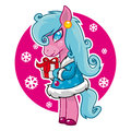Vector illustration merry christmas holding gift horse smiling format eps Stock Photography