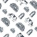 Milk farm seamless pattern. Cow, farm, milk can engraved illustration. Vintage husbandry. Vector illustration Royalty Free Stock Photo