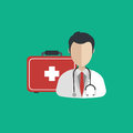 Vector illustration in a modern flat style, health care concept. A doctor in uniform with stethoscope and first aid kid
