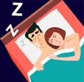 Vector illustration in modern flat style. Snoring man, couple sl