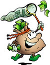Vector illustration of an Money Sack Hunting Cash Stock Photo