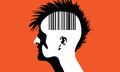 Vector illustration of a monhawk guy with barcode on his head Stock Photo