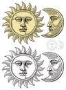 Vektor ilustrácie z mesiac a slnko