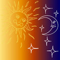 Vector illustration of Moon and Sun with faces Royalty Free Stock Photo