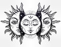 Vector illustration of Moon and Sun with faces. Royalty Free Stock Photo