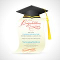 Vector illustration of mortar board on graduation certificate Royalty Free Stock Photos