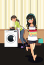 A vector illustration of mother doing laundry with her daughter Royalty Free Stock Photo