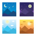 Vector illustration of a mountain landscape in the morning, evening, mountains, mountain, night, mountains in the Royalty Free Stock Photo