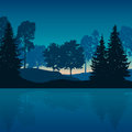 Vector illustration of mountain landscape with trees and water w