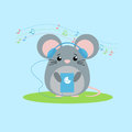 Vector illustration of mouse listens to music.