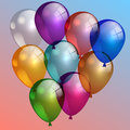 Vector illustration of multi color air balloons in the sky nine Royalty Free Stock Image