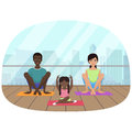 Vector illustration of the multi-ethnic family meditating in fitness room on the city background.