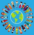 Vector illustration of multicultural national children people on planet earth set international in traditional costumes around the Stock Image