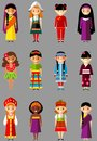 Vector illustration of multicultural national children people in traditional costumes set international woman girls dressed Royalty Free Stock Images