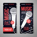 Vector illustration music concert event ticket design template with cool microphone and vintage effects Royalty Free Stock Photo