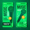 Vector illustration music concert ticket design template with microphone and cool grunge effects in the background Royalty Free Stock Photo