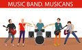 Vector illustration of musicians music band. Young rock group.