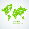 Vector illustration of Nature green map of the world with leaves on a white background. Bright poster on eco theme Royalty Free Stock Photo