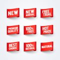 Vector Illustration New Arrival, 100% Free, Natural, Premium Quality, Best Price Label Flag Set Royalty Free Stock Photo
