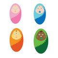 Vector illustration newborn children of different nations. The kids wrapped in a blanket. Little baby
