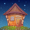 Vector illustration of night cartoon home on Royalty Free Stock Photo