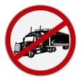 No semi trucks allowed sign. Vector illustration