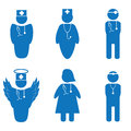 Vector illustration of nurse and doctors isolated Royalty Free Stock Photos