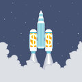 Vector illustration office building taking off two large dollar rockets Stock Images