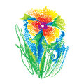 Vector illustration oil pastel childlike stylized flower isolated on white background. Colorful floral drawing in sketch style.